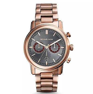 MICHAEL KORS Mens Watch MK8370 PENNANT Chronograph Rose Gold Tone Black Dial #3