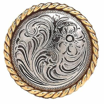 """Rose Flower Antique Silver and Gold Rope Edge Concho 1785-NG 1"""" by Stecksstore"""