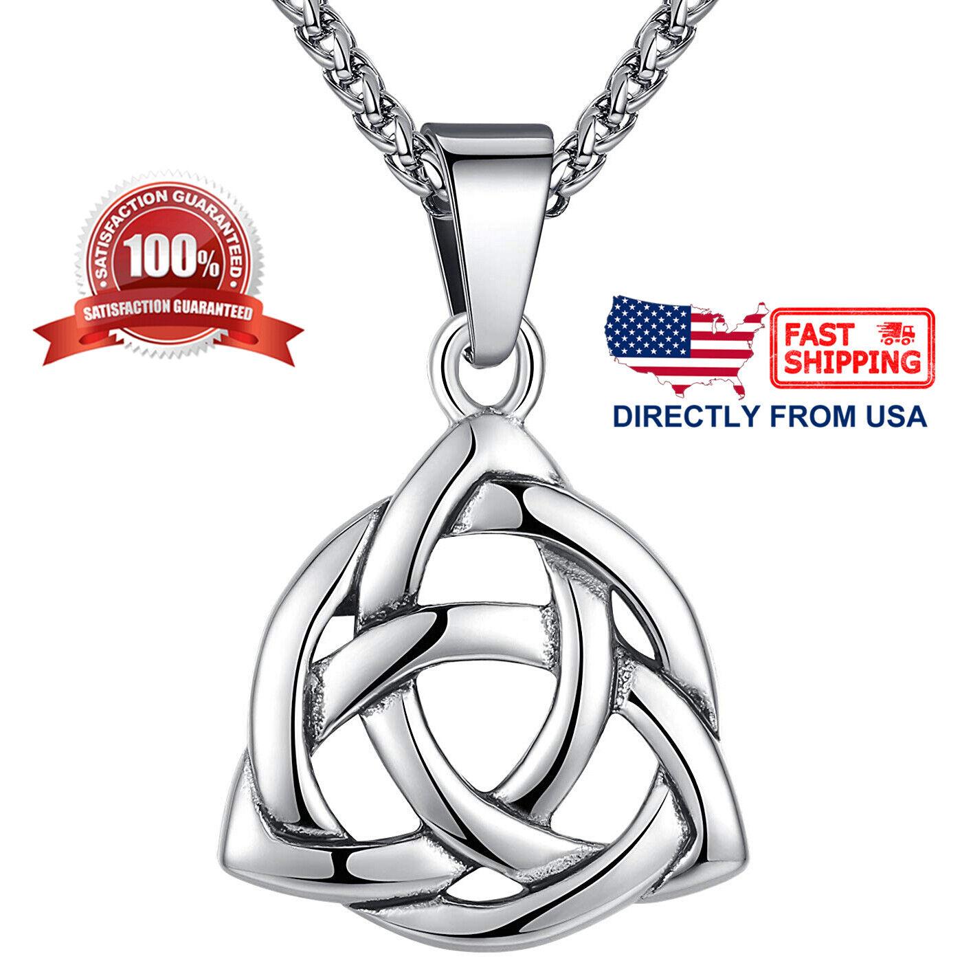 Men's Stainless Steel Large Celtic Triquetra Trinity Knot Pendant Necklace Chains, Necklaces & Pendants