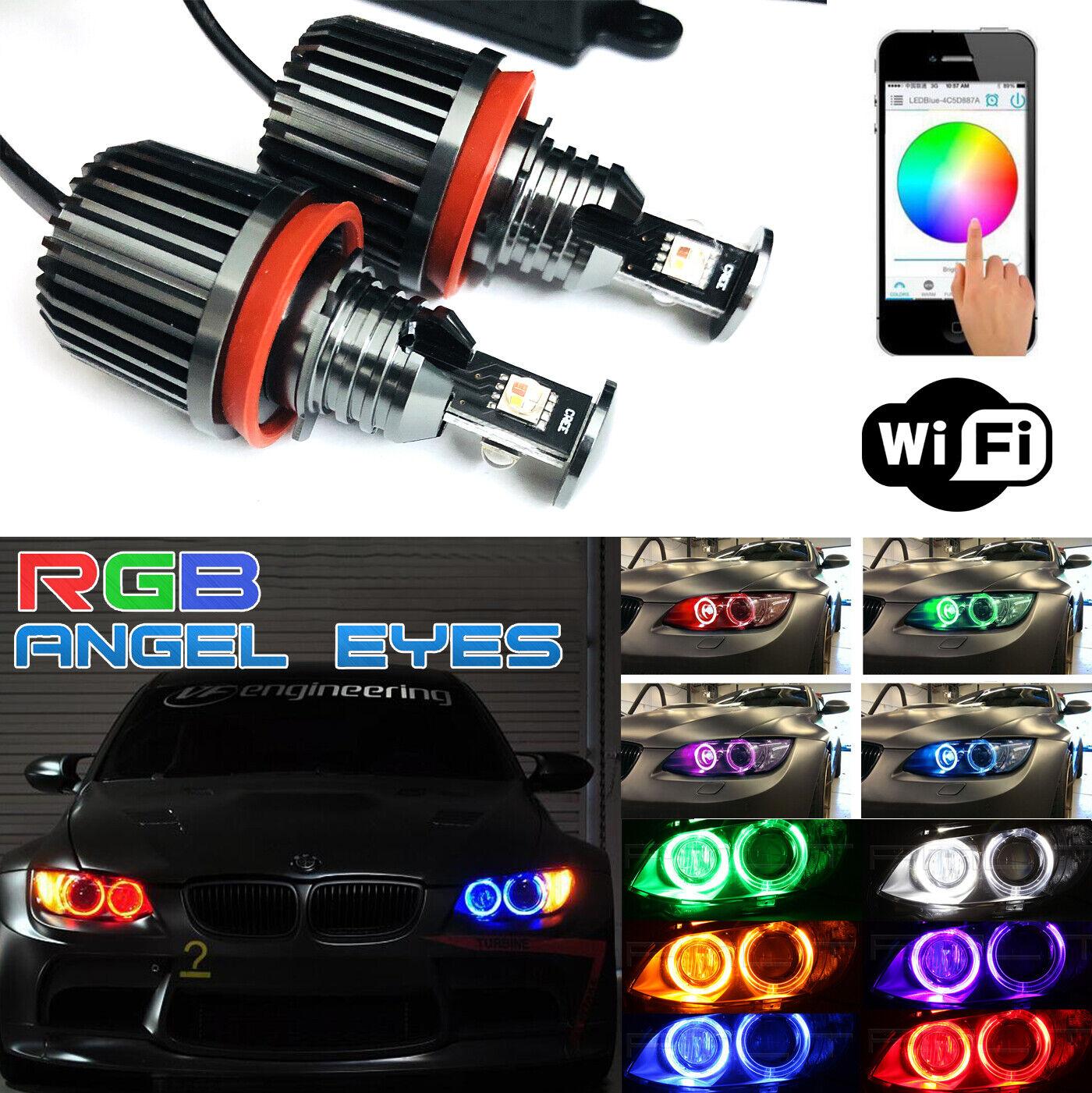 2pcs 60W Angel Eyes RGB Color Change H8 LED WIFI Control For BMW E92 E88 1500LM
