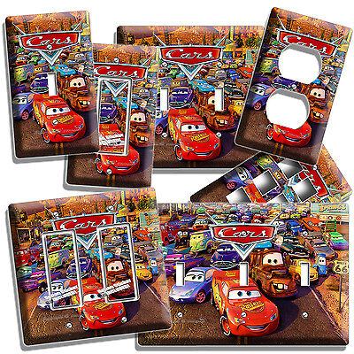 (CARS LIGHTNING McQUEEN MATTER LIGHT SWITCH OUTLET WALL PLATE COVER BOY BEDROOM 3)