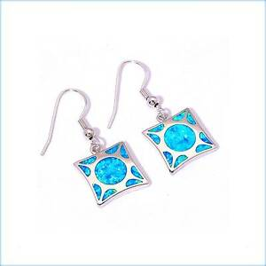 STERLING SILVER 925 BLUE FIRE INLAY OPAL HOOK EARRINGS 33MM. Rothwell Redcliffe Area Preview