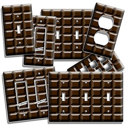 DARK CHOCOLATE BAR CUBES THEME LIGHT SWITCH OUTLET WALL PLATE KITCHEN HOME DECOR Themed Chocolate Bar