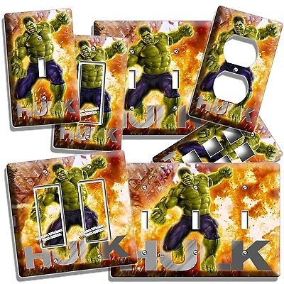 (THE INCREDIBLE HULK LIGHT SWITCH OUTLET WALL PLATE COVER BOYS BEDROOM ROOM DECOR)