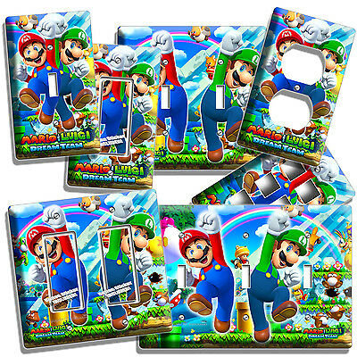 Mario And Luigi Decorations (SUPER MARIO AND LUIGI BROS LIGHT SWITCH OUTLET WALL PLATE COVER GAME ROOM)