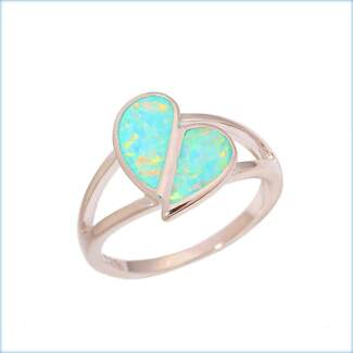 GREEN FIRE CREATED OPAL STERLING SILVER 925 RING. AUSN - US 6.5.