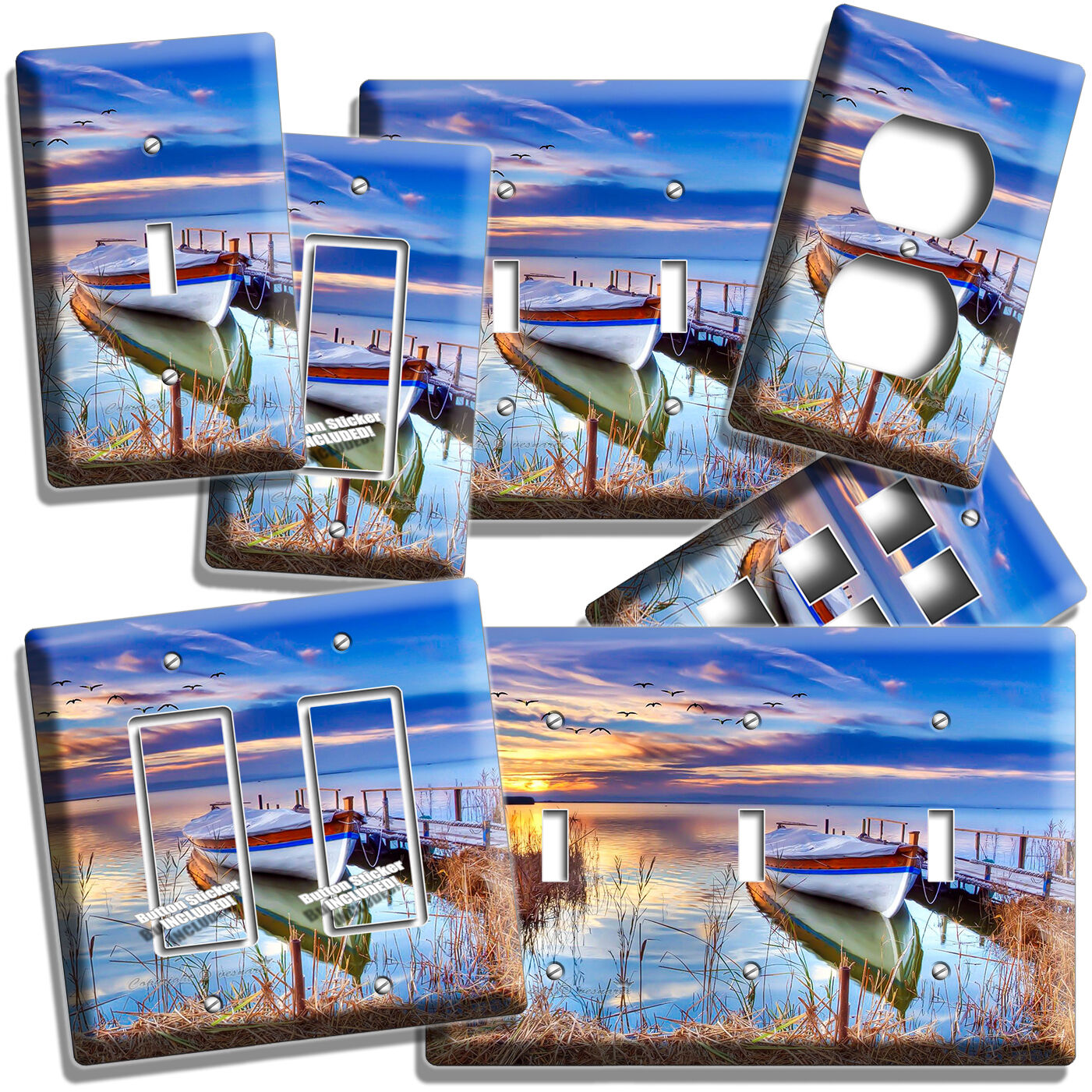 BOAT ON THE LAKE AT TWILIGHT LIGHT SWITCH OUTLET WALL PLATE