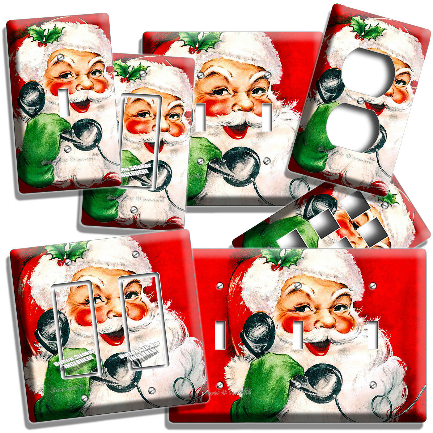 RETRO CHRISTMAS SANTA CLAUS ON A PHONE LIGHT SWITCH OUTLET W