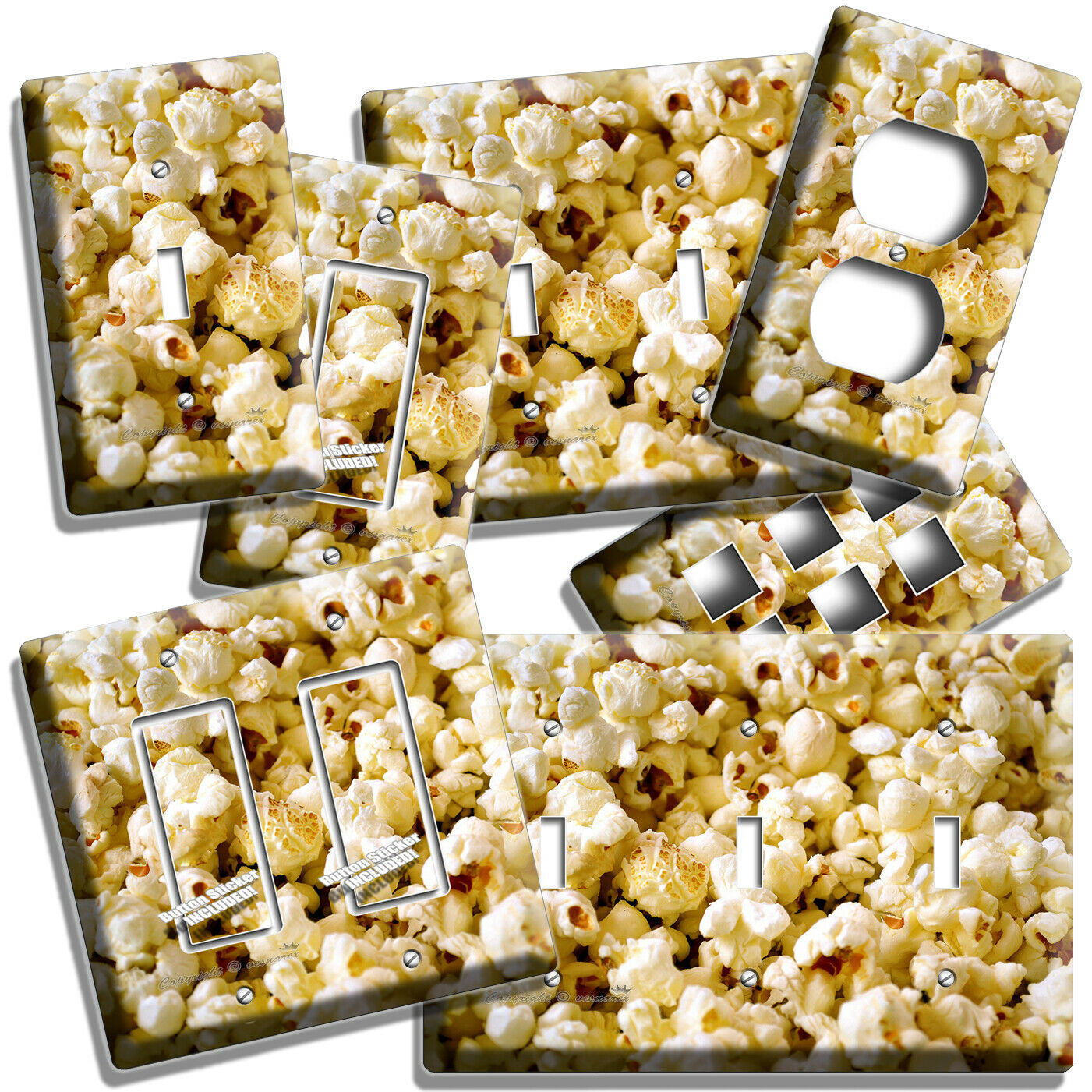 POPCORN LIGHT SWITCH OUTLET WALL PLATE COVER TV ROOM HOME KI