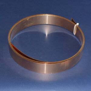 Bronzeblech CuSn6 Bronze Blech Band 35 mm Breite x 0,8 mm Dicke, ca. 3m lang