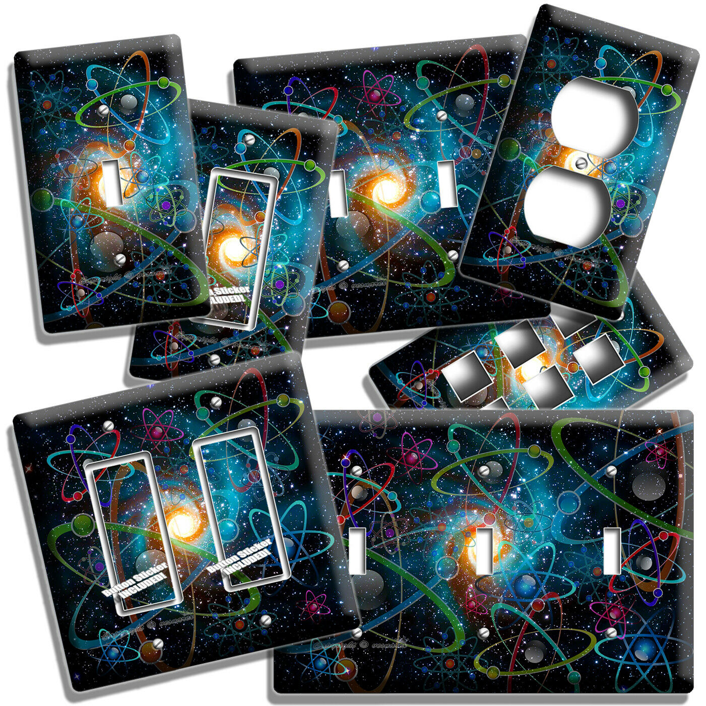 BIG BANG ATOMS CLUSTERS SPACE GALAXY LIGHT SWITCH OUTLET WAL