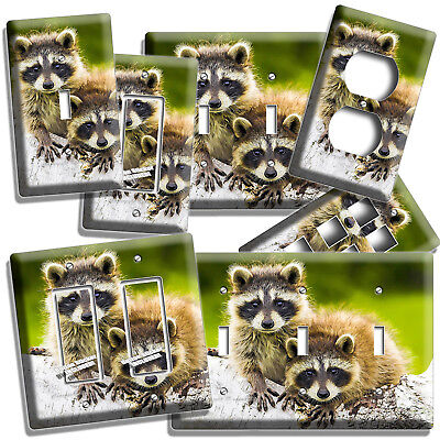 (CUTE LITTLE RACCOONS  LIGHT SWITCH OUTLET WALL PLATE COVER BEDROOM ROOM HD DECOR)