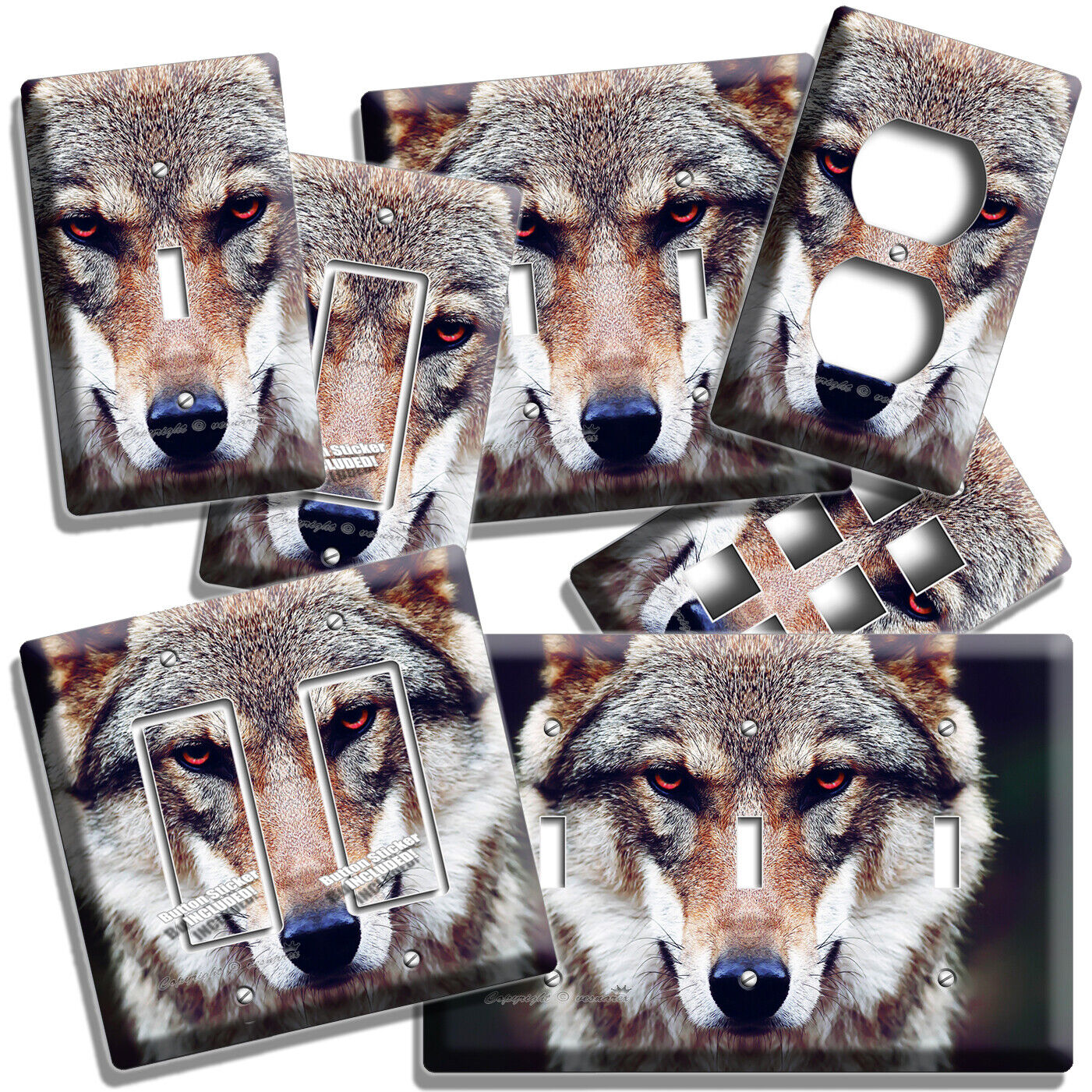WILD GRAY WOLF RED EYES LIGHT SWITCH OUTLET WALL PLATE COVER