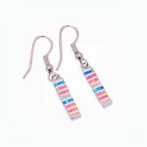 STERLING SILVER 925 MULTI FIRE OPAL INLAY HOOK DANGLE EARRINGS. Rothwell Redcliffe Area Preview