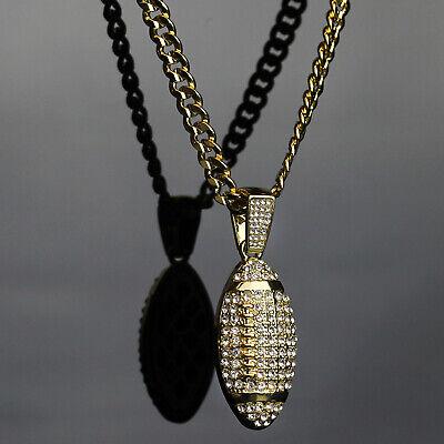 Mens 14k Gold Plated Hip Hop FOOTBALL Pendant 5mm 24