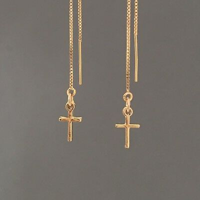 (Gold Fill Cross Box Chain Threader Earrings also in Sterling Silver)