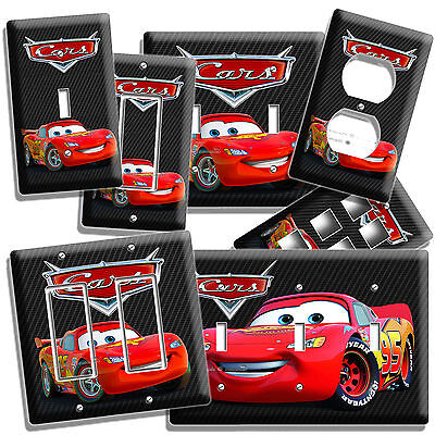 (DISNEY CARS 3 LIGHTNING McQUEEN LIGHT SWITCH OUTLET WALL PLATE COVER BOY BEDROOM)