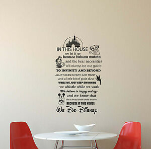 In This House We Do Disney Wall Decal Quote Vinyl Sticker Poster Decor  Mural 415