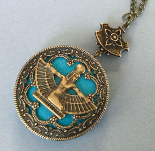 Vintage Necklace Egyptian Revival Pendant Winged Goddess Turquoise Howlite