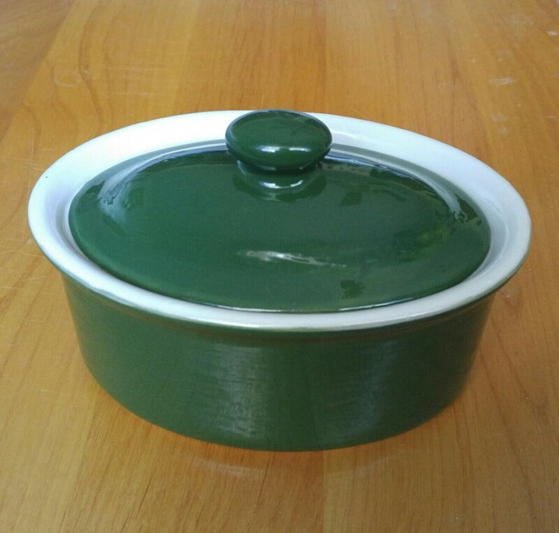 """Vintage Coors Thermo Porcelain Green Baking Dish 7"""" x 4"""" Oval Pottery Casserole"""