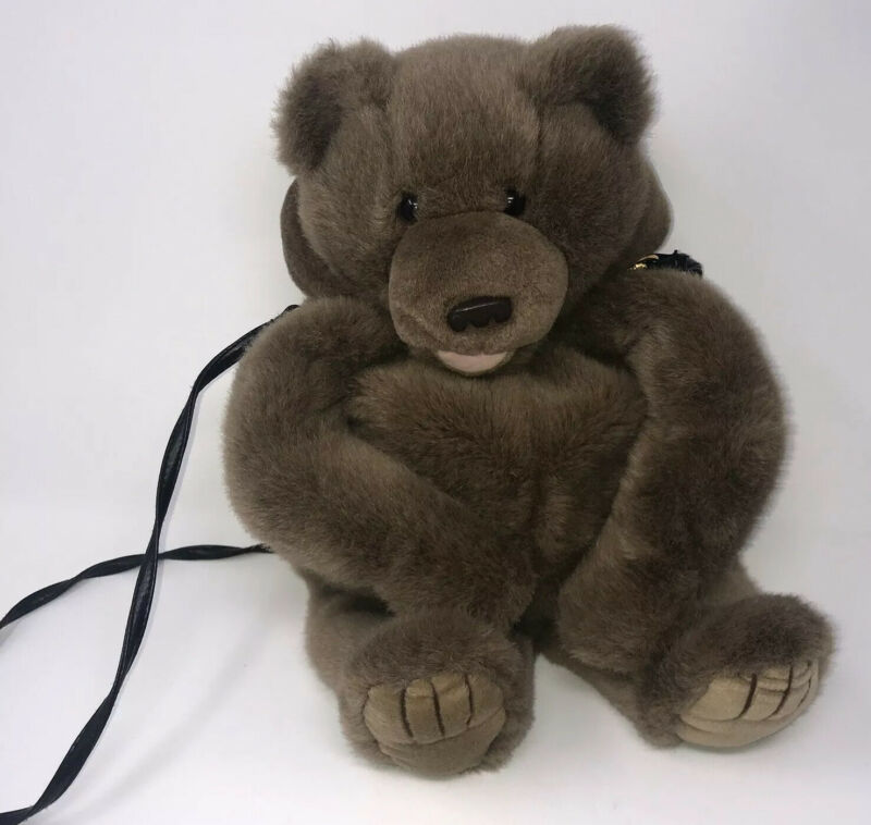 Mango Company Purse Teddy Bear Brown With Handle Backpack Detachable Strap