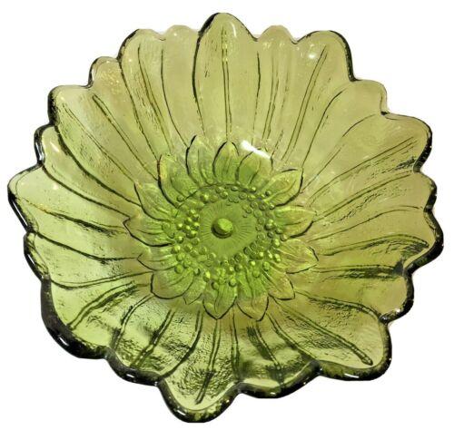 Vintage Indiana Avocado Green Glass Sunflower Bowl