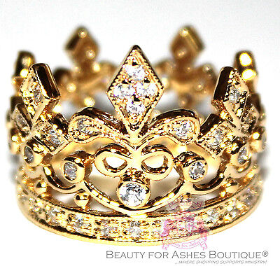 Fleur de Lis Royalty Princess Gold Plated Crown of Life Ring - New with Defects ()