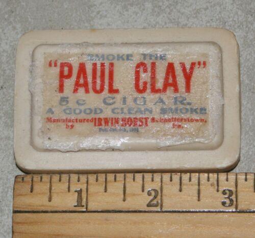 "VINTAGE ORIGINAL ADVERTISING PAUL CLAY 5 CENT CIGAR 3"" PURE SOAP BAR & WRAPPER"