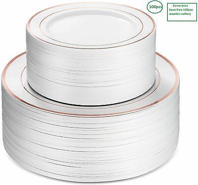 Gold Plastic Silverware (100 Pieces Rose Gold Rim Disposable plates plastic silverware White)
