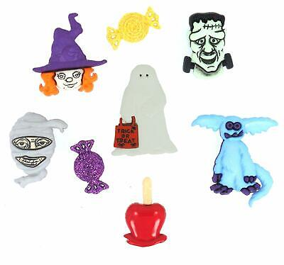 Dress It Up Happy Haunting 8 Count Pack Buttons Monster Ghost Goblin Mummy
