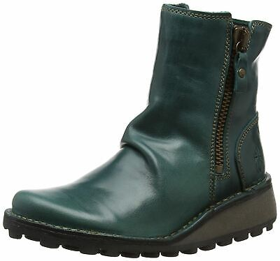 Petrol Leather Womens Ankle Boots