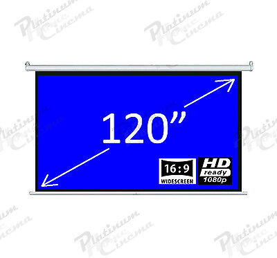 """New 120"""" Electric HD Projection Screen projector home cinema 16:9 Fiber Glass"""