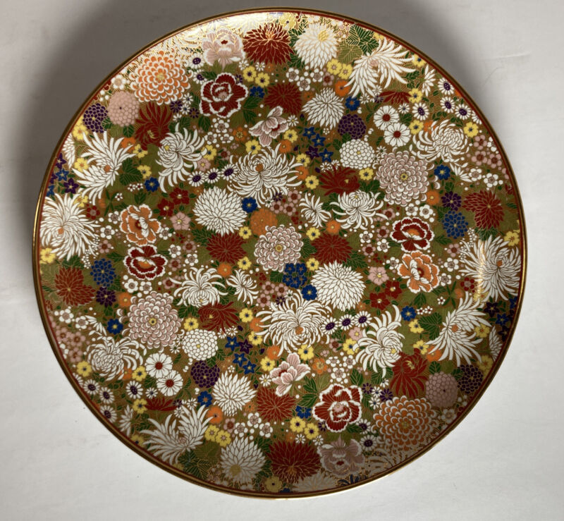 """Fine Old Thousand Flowers Chrysanthemum Plate -Gorgeous Gold Background -10"""""""