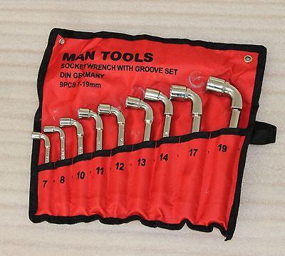 44083309 9PCs Set Wrench Socket Set Bent L Shape Car Repair Garage Tools