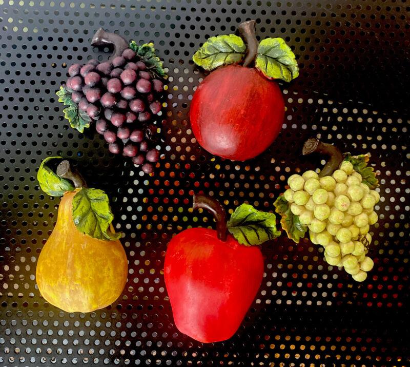 Vintage MCM Fruit Wall Hangings Apple Pear Grapes Kitchen Décor 5 pcs