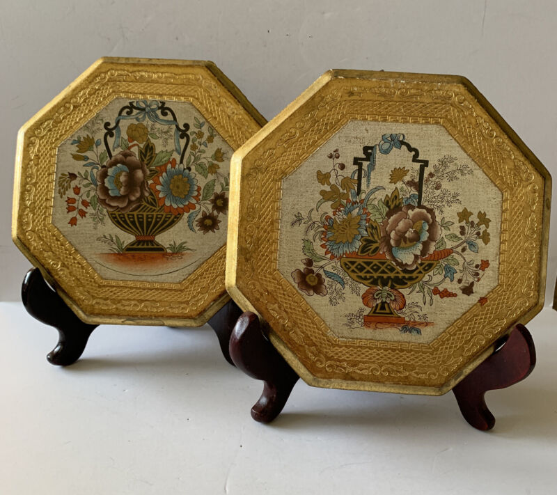 2 Vintage Florentine Wall Plaques Gold Gilt Wood Venice Italy Handmade 1031