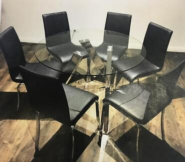 Glass 6 seater dining table & extendable coffee table
