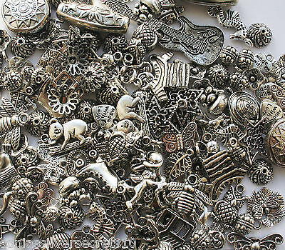 50 Tibetan Silver Mixed Beads Charms Random Selection Jewellery Making Crafts