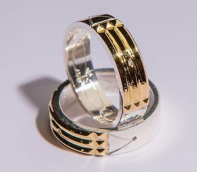 Atlantis Ring  Anillo Atlante  970 Silver Plata 18K Gold Oro 6Mm Wide 2Mm Thick