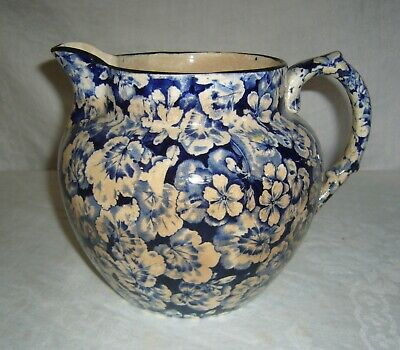 ANTIQUE 1905-10 BUFFALO POTTERY BLUE TRANSFERWARE GERANIUM LARKIN SOAP PITCHER