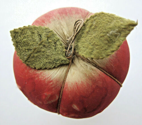 Antique Apple Pin Cushion Silk Covered with 2 original leaves, colors bright
