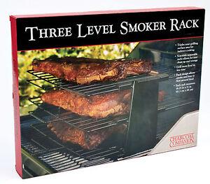 Charcoal-Companion-Barbecue-3-Rack-TRIPLE-LEVEL-GRILL-SMOKER-RACK-Non-Stick