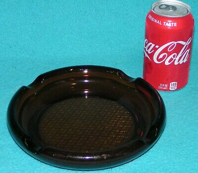 """LAST ONE!! BIG Brown GLASS 8"""" Cigar ASHTRAY Table Top/Vintage Brass Standing"""