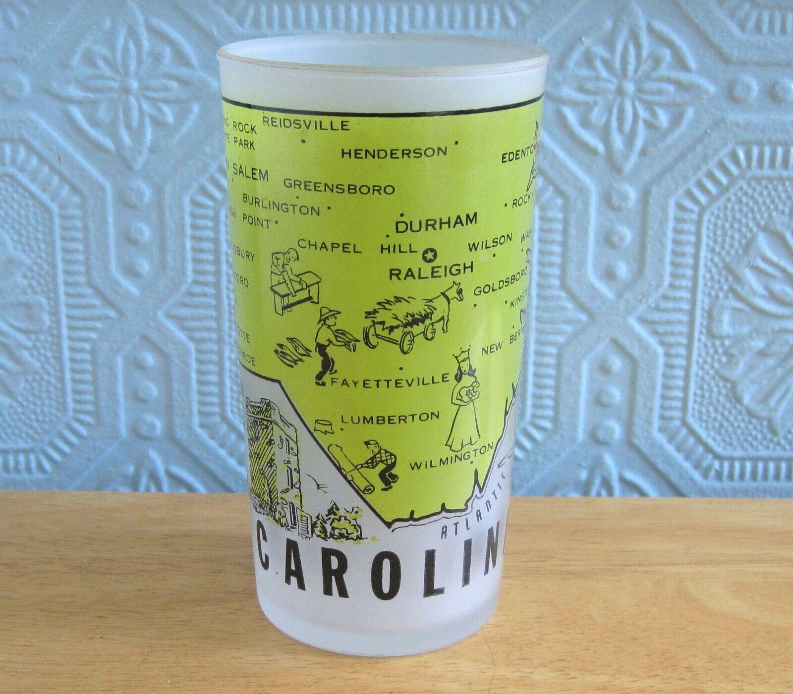 Vintage Frosted North Carolina State Souvenir Drinking Glass Hazel-Atlas  - $9.75
