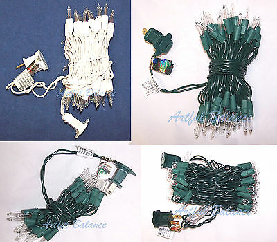 Christmas Tree Lights Craft Home Decor Wedding Green/White Wire 50/20 (White Christmas Lights 50 Clear White Wire)