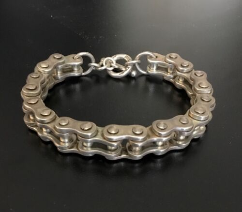 """VINTAGE TAXCO SILVER (925) BICYCLE CHAIN TOGGLE BRACELET SIGNED """"TR-182 MEXICO"""""""