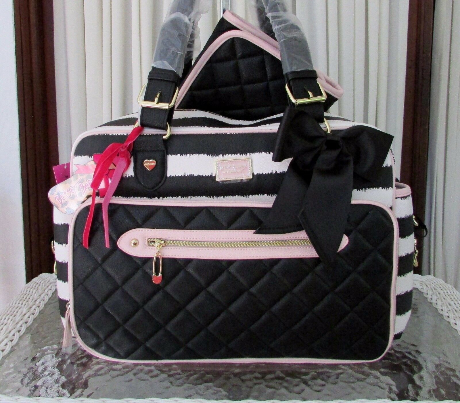 Betsey Johnson Weekender Diaper Bag with Matching Changing P