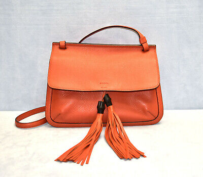 B00 NWT GUCCI Orange Pebbled Leather Bamboo Daily Flap Shoulder Bag $1890