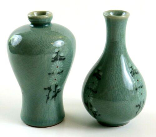 Set Of 2 Small Japanese Porcelain Vases, Jade Green Floral Glazed Pottery