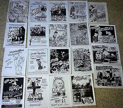SOCIAL DISTORTION 20 flyer set, repro 8.5x11, Punk Flyers, L.A. HARDCORE PUNK